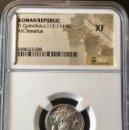 Monedas Roma República: PRECIOSO DENARIO DE PLATA REPUBLICANO. TI. QUINCTIUS. C. 112 - 111 BC. NGC XF!!. Lote 147485010