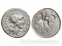 DENARIO REPUBLICANO 116-115 A.C FAMILIA SERGIA-1 SERGIUS SILUS NORTE ITALIA 3,85 GR Y CERTIFICADO (Numismática - Periodo Antiguo - Roma República)
