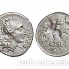 Monedas Roma República: DENARIO REPUBLICANO 116-115 A.C FAMILIA SERGIA-1 SERGIUS SILUS NORTE ITALIA 3,85 GR Y CERTIFICADO. Lote 167785676