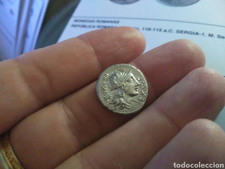 Monedas Roma República: Denario Republicano 116-115 a.C Familia SERGIA-1 Sergius Silus Norte Italia 3,85 gr y certificado - Foto 4 - 167785676