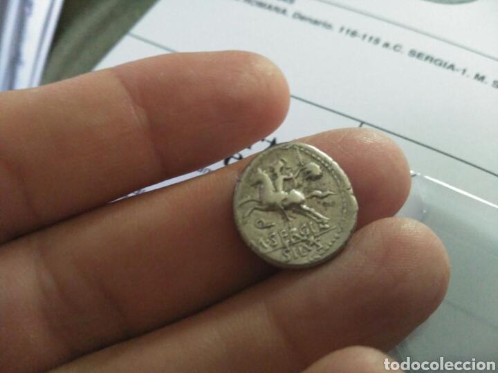 Monedas Roma República: Denario Republicano 116-115 a.C Familia SERGIA-1 Sergius Silus Norte Italia 3,85 gr y certificado - Foto 5 - 167785676