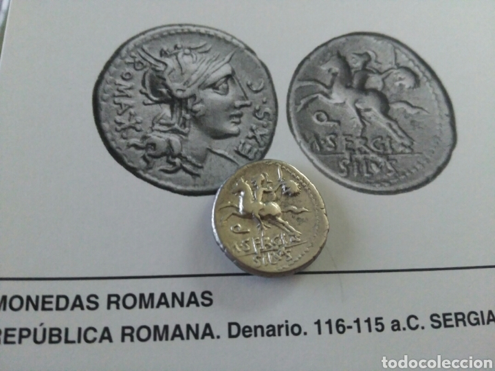 Monedas Roma República: Denario Republicano 116-115 a.C Familia SERGIA-1 Sergius Silus Norte Italia 3,85 gr y certificado - Foto 7 - 167785676
