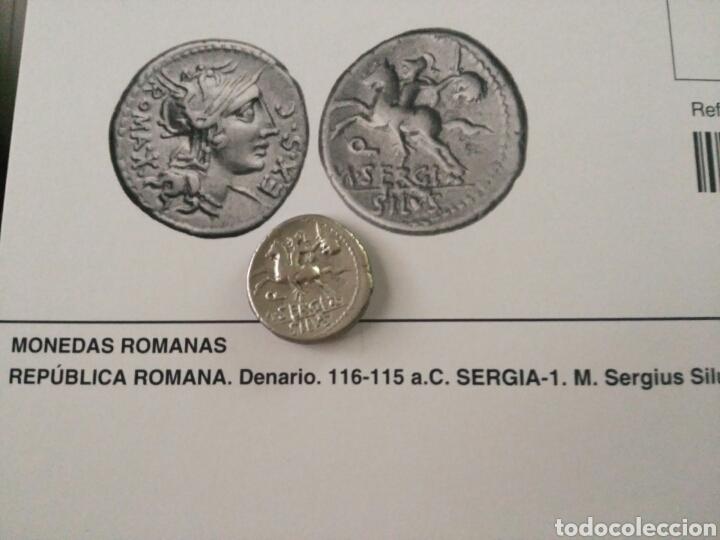 Monedas Roma República: Denario Republicano 116-115 a.C Familia SERGIA-1 Sergius Silus Norte Italia 3,85 gr y certificado - Foto 10 - 167785676