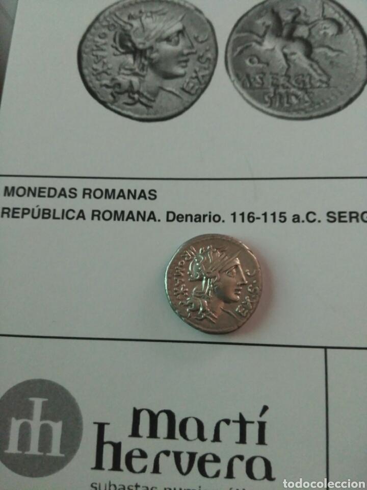 Monedas Roma República: Denario Republicano 116-115 a.C Familia SERGIA-1 Sergius Silus Norte Italia 3,85 gr y certificado - Foto 11 - 167785676
