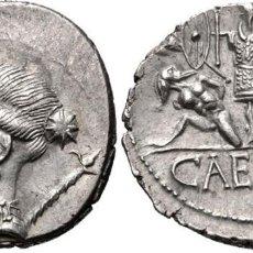 Monedas Roma República: DENARIO ROMANO REPÚBLICA REPUBLICANO JULIO CESAR CECA ITINERANTE HISPANIA VENUS / GALOS CAUTIVOS. Lote 174234615