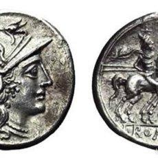 Monedas Roma República: PRECIOSO DENARIO ROMANO REPÚBLICA REPUBLICANO ESCRIBONIA PLATA ROMA 154 AC PRECIOSA MONEDA EX-VARESI. Lote 174237030