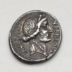 Monedas Roma República: DENARIO REPÚBLICA CAIUS IULIUS CAESAR JULIO CESAR CERES REV EMBLEMAS ACUÑADA ÁFRICA 46 ANTES CRISTO. Lote 176988753