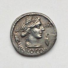 Monedas Roma República: BONITO DENARIO REPÚBLICA L FURIUS CN F BROCCHUS FAMILIA FURIA CERES ESPIGA AÑO 63 ANTES DE CRISTO. Lote 177001704