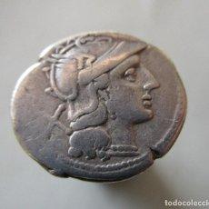 Monedas Roma República: ANONIMA . DIOSCUROS A CABALLO . MUY ANTIGUO DENARIO REPUBLICANO . 180 A.C.. Lote 192008721