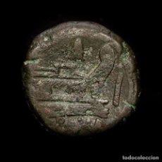 Monedas Roma República: REPÚBLICA ROMANA - RARO AS DE BRONCE ANONIMO. CUÑOS ARRIBA DE PROA. Lote 195303516