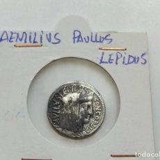 Monedas Roma República: DENARIO, GENS AEMILIA (AEMILIUS LEPIDUS PAULLUS), 62 A.C -PAVLLVS LEPIDVS 3,98G. Lote 210120353