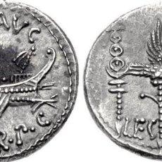 Monedas Roma República: MONEDA ROMANO DENARIO ROMANO MARCO ANTONIO LEGIÓN LEG VIII GALERA AGUILA ESTANDARTES EX-CNG. Lote 211507205