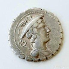"""Monedas Roma República: DENARIO """"SERRADO"""" CIRCA 82 A.C. MAMILIUS LIMETANUS.. Lote 214492968"""