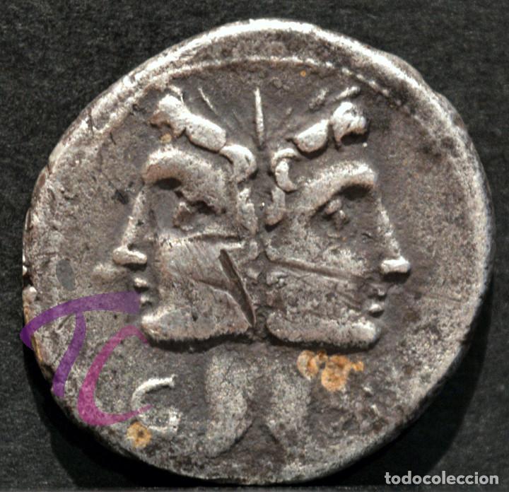 DENARIO REPÚBLICA FONTEIA JANO C.FONT ROMA 109 A.C. (Numismática - Periodo Antiguo - Roma República)