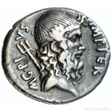 Monedas Roma República: SEXTO POMPEYO MAGNO. DENARIO. ROMA 42-40 AC. NEPTUNO / TROFEO NAVAL. Lote 221927272