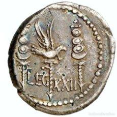 Monedas Roma República: MARCO ANTONIO. DENARIO LEGIONARIO. PATRAE, 32-31 A.C LEG XXII GALERA. Lote 222007877