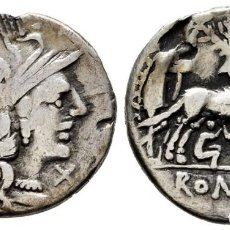 Moedas Roma República: POMPEIA. DENARIO. ITALIA CENTRAL (137 A.C.). R/ EL PASTOR FAUSTULOS CON LOBA RÓMULO Y REMO. MBC-. Lote 223756702