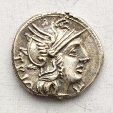 Monedas Roma República: PRECIOSA MONEDA REPÚBLICA ROMANA DENARIO REPUBLICANO FAMILIA LUCRETIA LUCRETIUS TRÍO AÑO 136 A J.C.. Lote 234009580