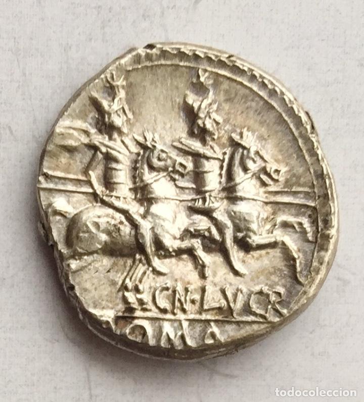 Monedas Roma República: Preciosa Moneda República Romana Denario Republicano Familia LUCRETIA Lucretius Trío Año 136 a J.C. - Foto 2 - 234009580
