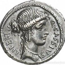 Monedas Roma República: PRECIOSO DENARIO DE PLATA REPUBLICANO REPÚBLICA ROMANA CASSIA Q CASSIUS LONGINUS 55 A.C.. Lote 244795945