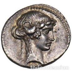 Monedas Roma República: FANTÁSTICO DENARIO REPÚBLICANO ROMA FAMILIA MANLIA L MANLIUS TORQUATUS SIBILA DERECHA GRAN RELIEVE. Lote 246038250