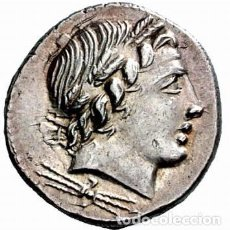 Monedas Roma República: PRECIOSO DENARIO PLATA REPÚBLICA ROMA ANÓNIMO DIOS APOLO REVERSO CUADRIGA 85 AC. Lote 246291720