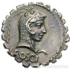 Monedas Roma República: PRECIOSO DENARIO REPÚBLICA ROMA FAMILIA ROSCIA ROSCIUS FABATUS SERPIENTE 55 AC. Lote 246292855