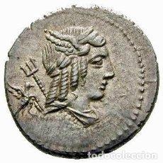 Monedas Roma República: BONITO DENARIO FAMILIA JULIA L IULIUS BURSIO 85 AC ALAS DE MERCURIO TRIDENTE DE NEPTUNO CUADRIGA. Lote 247716150