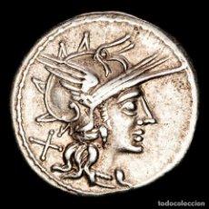 Monedas Roma República: AURELIUS RUFUS 144 AC. ROMA, DENARIO JUPITER EN CUADRIGA AV RVF. Lote 262918630