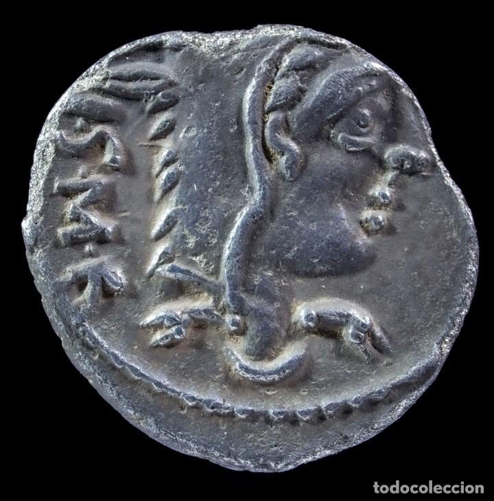 DENARIO REPUBLICANO, FAMILIA THORIA (105 A.C.) - 16 MM / 2.52 GR. (Numismática - Periodo Antiguo - Roma República)