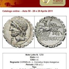 Monedas Roma República: BONITO DENARIO PLATA FAMILIA CORNELIA CORNELIUS SCIPIO ASIAGENUS AÑO 106 ANTES DE CRISTO. Lote 289680713