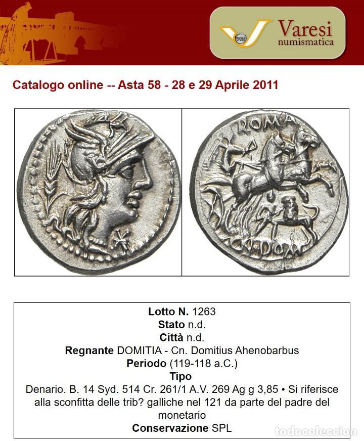 PRECIOSO DENARIO PLATA FAMILIA DOMITIA DOMITIUS AHENOBARBUS AÑO 119 ANTES DE CRISTO (Numismática - Periodo Antiguo - Roma República)