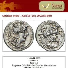 Monedas Roma República: PRECIOSO DENARIO PLATA FAMILIA DOMITIA DOMITIUS AHENOBARBUS AÑO 119 ANTES DE CRISTO. Lote 289681098