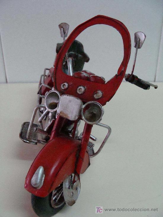 Motos a escala: GRAN MOTOCICLETA DE COLECCIÓN. TIPO GOLDWIN. 27 CM. 760 GRAMOS. MOTO DE FABRICACIÓN ARTESANAL. - Foto 3 - 20915721