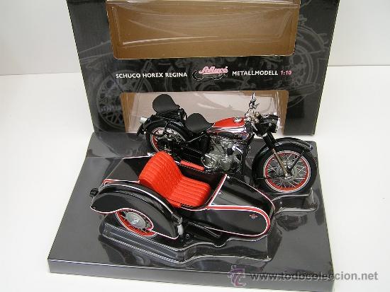 MOTO CON SIDECAR (SIDE CAR): HOREX REGINA - SCHUCO - ESCALA 1:10 - NUEVA- SIN USAR. - MOTOSIDECAR (Juguetes - Motos a Escala)