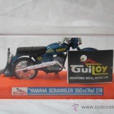Motos a escala: MOTO DE GUILOY YAMAHA SCRAMBLER 350CC REF278 - CAJA ORIGINAL CON PEANA Y CATALOGO - GUITOY. Lote 34439954