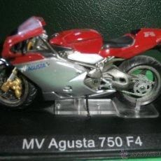Motos a escala: MOTO - MINIATURA - MV AUGUSTA 750 F4 - ESCALA 1-24 - EN PEANA. Lote 54949632