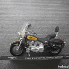 Motos in scale: HARLEY DAVIDSON FLSTC HERITAGE SOFTAIL CLASSIC AÑO 2000 MAISTO ESC. 1,18 DE METAL Y PARTES PLASTICAS. Lote 98154875