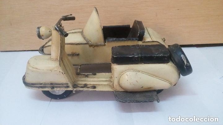 ANTIGUA Y GRANDE MOTO CON SIDECAR METALICA APROX 1940 OBRA DE ARTE (Juguetes - Motos a Escala)