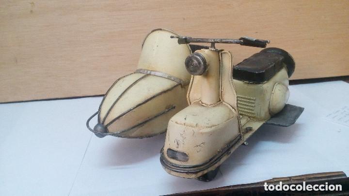 Motos a escala: ANTIGUA Y GRANDE MOTO CON SIDECAR METALICA APROX 1940 OBRA DE ARTE - Foto 2 - 101675095