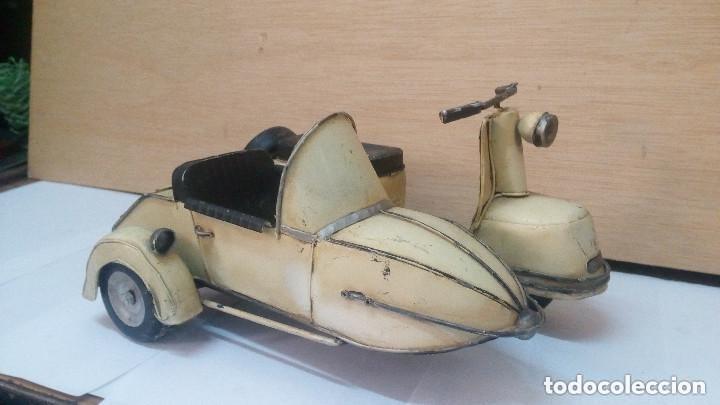 Motos a escala: ANTIGUA Y GRANDE MOTO CON SIDECAR METALICA APROX 1940 OBRA DE ARTE - Foto 3 - 101675095