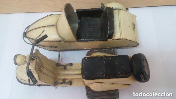 Motos a escala: ANTIGUA Y GRANDE MOTO CON SIDECAR METALICA APROX 1940 OBRA DE ARTE - Foto 5 - 101675095