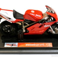Motos a escala: MOTOCICLETA DUCATI 996 SPS ,EDICIÓN MAISTO, CON PEANA BASE , 1:18, 1/18, NO A SIDO RODADA. Lote 223104340