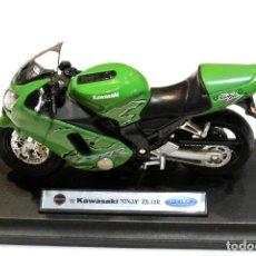 Motos a escala: MOTOCICLETA KAWASAKI NINJA ZX-12R ,EDICIÓN WELLY, CON PEANA BASE ,1:18, 1/18, NO A SIDO RODADA. Lote 223106927