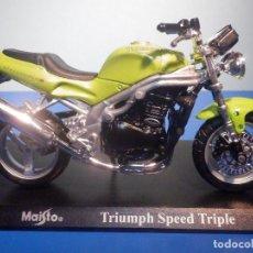 Motos a escala: MOTO - MINIATURA A ESCALA - TRIUMPH SPEED TRIPLE - ESCALA 1.18 - CON PEANA - MAISTO. Lote 226284950