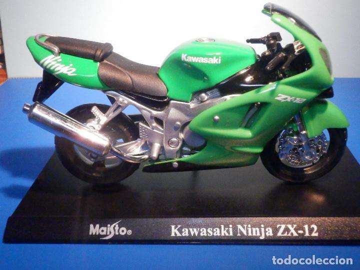 MOTO - MINIATURA A ESCALA - KAWASAKI NINJA ZX-12 - ESCALA 1.18 - CON PEANA - MAISTO (Juguetes - Motos a Escala)