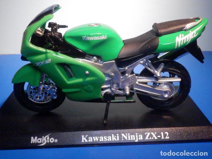 Motos a escala: MOTO - MINIATURA A ESCALA - Kawasaki Ninja ZX-12 - ESCALA 1.18 - CON PEANA - MAISTO - Foto 2 - 226286450
