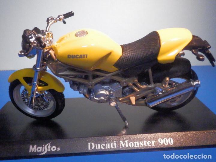 Motos a escala: MOTO - MINIATURA A ESCALA - Ducati - Monster 900 - Amarilla - ESCALA 1.18 - CON PEANA - MAISTO - Foto 2 - 226288056