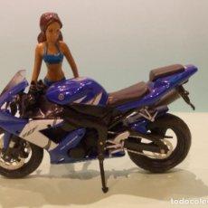 Motos a escala: FIGURA DE MOTO DEPORTIVA YAMAHA YZF R1 AZUL Y BLANCA. Lote 240432625