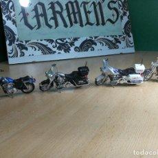 Motos a escala: CUATRO FANTÁSTICAS MOTOCICLETAS HARLEY DAVIDSON DE COLECCIÓN MAISTO. Lote 242014095